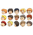 Heads of young boys vector image vector image