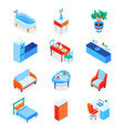 home interior elements - modern isometric icons vector image