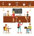 Interior Design And Happy Clients Of A Coffee Shop vector image vector image
