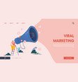 landing page with man and megaphone referring a vector image vector image