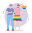 lgbtq community lesbian with skirt and heart vector image