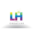 lh l h colorful letter origami triangles design vector image vector image