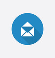 mail Flat Blue Simple Icon with long shadow vector image vector image