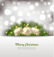Merry Christmas Card with Fir Twigs and Golden vector image vector image