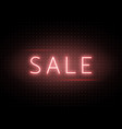 neon sale banner luminous light red type text vector image vector image