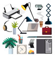 office equipment set pc smartphone vector image