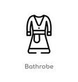 outline bathrobe icon isolated black simple line vector image vector image