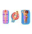 people on inflatable mattress woman man vector image