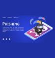phishing banner isometric style vector image vector image
