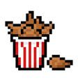 pixel bucket fried chicken vector image vector image