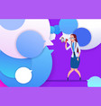 profile businesswoman hold megaphone new idea chat vector image
