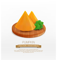 pumpkin slices lying on a wooden cutting board vector image vector image