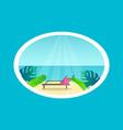 recliner on tropical beach near sea under sunlight vector image