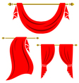 red curtain vintage set on white background vector image vector image