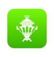 russian tea samovar icon digital green vector image