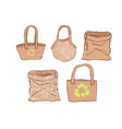 set eco bags in hand draw cartoon style vector image