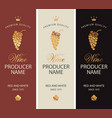 set wine labels with grape bunches and crowns vector image vector image