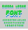 Sierra Leone font Sierra Leones flag on letters vector image
