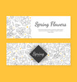 spring flowers banner templates set save date vector image