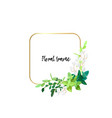 square gold frame with white flowers eucalyptus vector image vector image