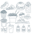 thin line fastfood vector image vector image