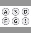 Typewriter keys asdfg vector image