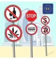Various street signs ban vector image vector image