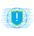 warning symbol on a shield cyber security vector image