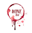 Watercolor emblem with wine stain vector image vector image