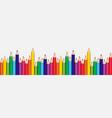 white background with colorful pencils set on edge vector image