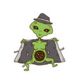 alien in a hat and coat show cosmos space vector image