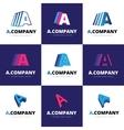 set of nine trendy A letter logos vector image