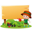 wooden sign with boy watering plant vector image