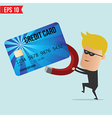A thief use magnet steal credit card vector image vector image