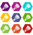 badminton icons set 9 vector image