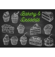 Bakery and desserts chalk sketch icons vector image vector image