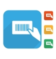 Barcode label with human hand icon set vector image vector image