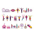bundle people and circus fair set icons vector image vector image
