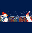 cartoon banner for holiday theme with snowman and vector image