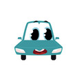 cartoon car character wih surprised human face vector image vector image