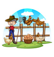 Chicken farmer with eggs vector image vector image