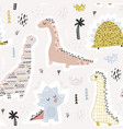 childish seamless pattern with hand drawn funny vector image vector image