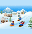 children playing sledding in the snow vector image