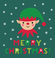 christmas card with an elf face vector image vector image