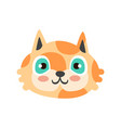 cute red kitten head with blue eyes funny cartoon vector image vector image