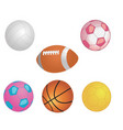 different game balls in the big basket isolated vector image vector image