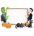 dracula and frankenstein halloween sign vector image vector image