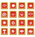 explosion icons set red vector image vector image