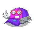 gamer cap character in the shape funny vector image