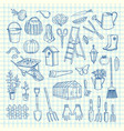 gardening doodle icons on cell sheet vector image
